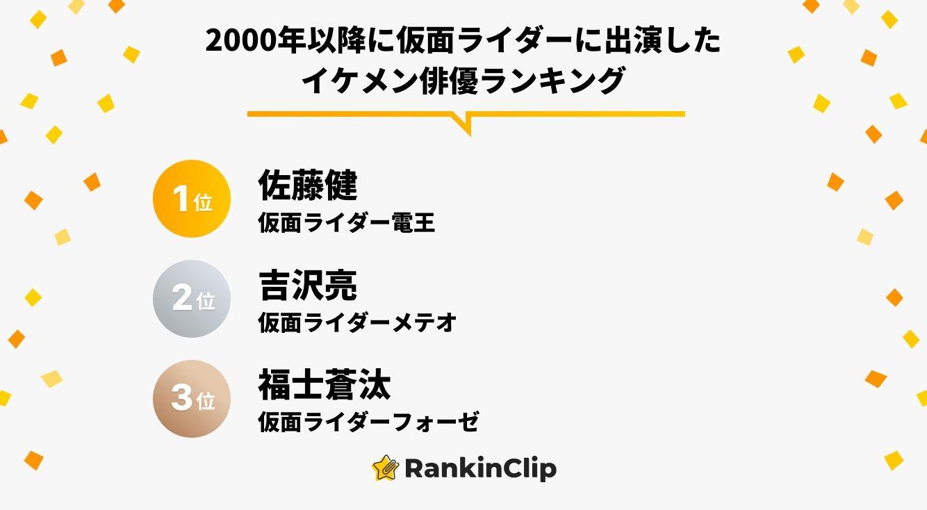 2000年以降に仮面ライダーに出演したイケメン俳優ランキング