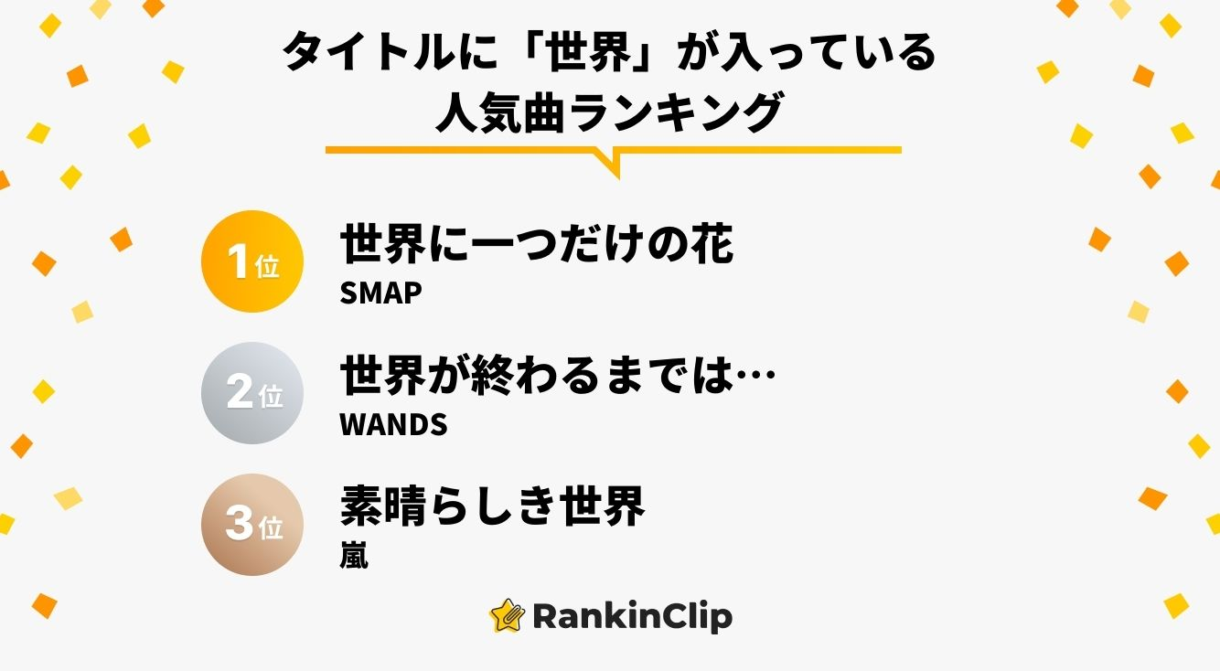 タイトルに「世界」が入っている人気曲ランキング