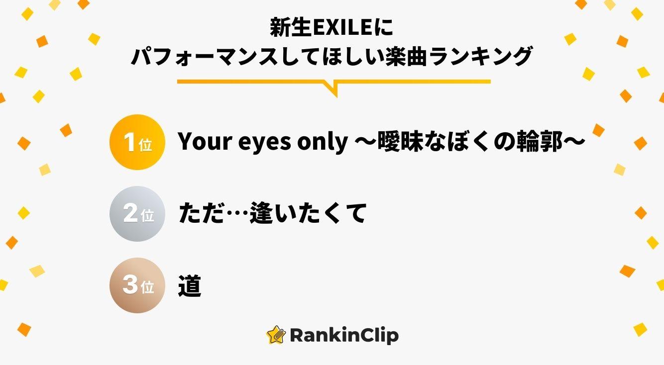 新生EXILEにパフォーマンスしてほしい楽曲ランキング