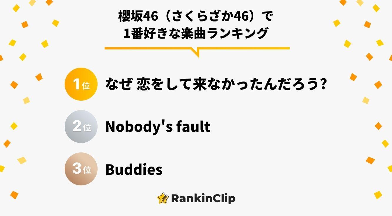 『櫻坂46(さくらざか46)』で1番好きな楽曲ランキング