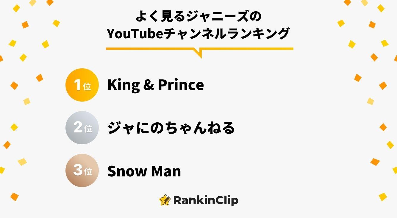 よく見るジャニーズのYouTubeチャンネルランキング