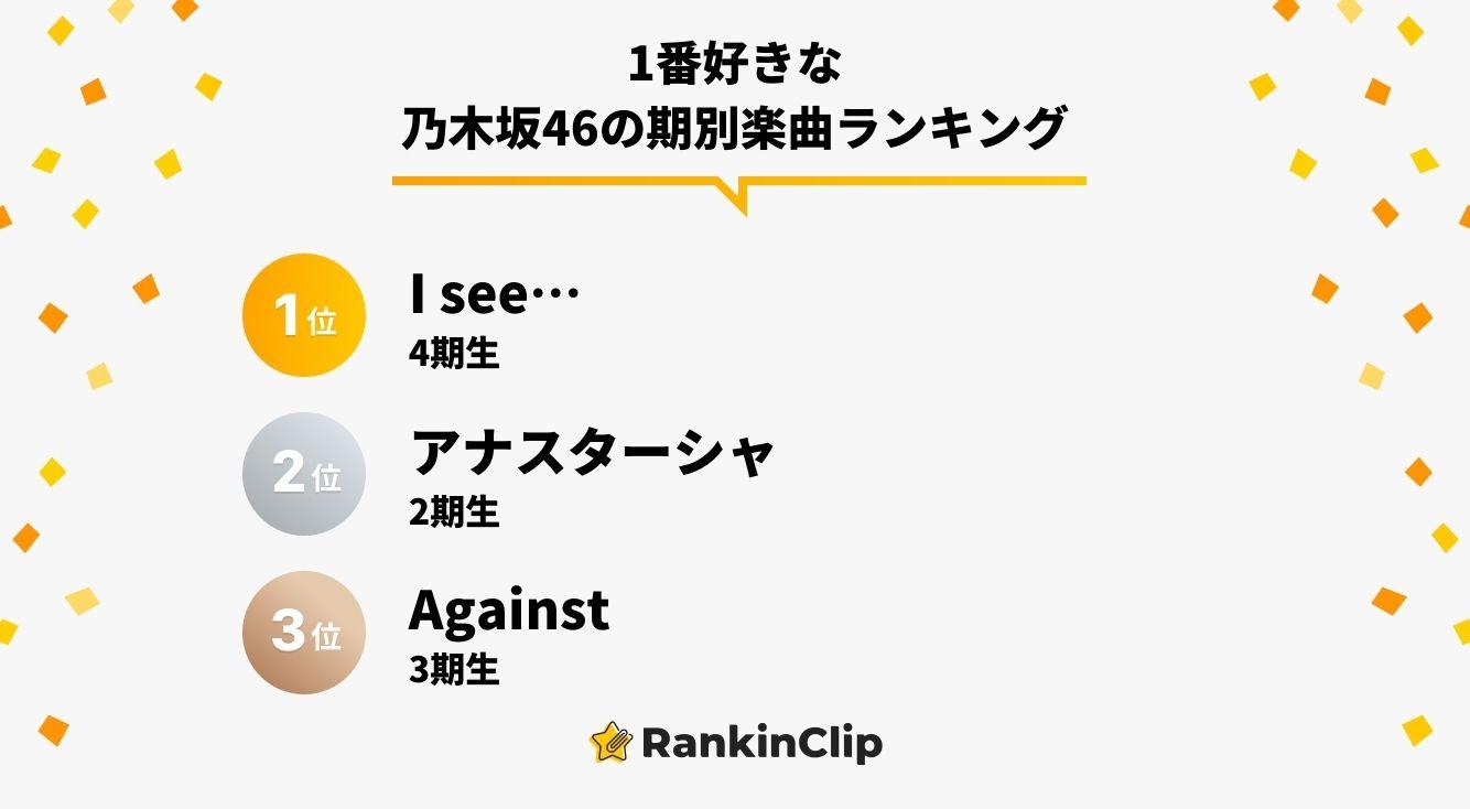 1番好きな乃木坂46の期別楽曲ランキング